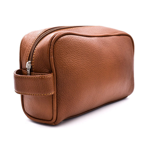 Parker Full Size Saddle brown Leather Toiletry Bag