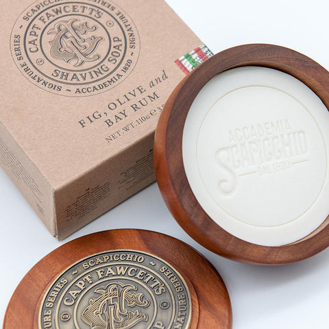 Captain Fawcett's Scapicchio's Fig Olive and Bay Rum Shaving Soap 110g (Wooden Bowl) - FineShave