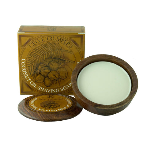 Geo. F. Trumper Coconut Oil Hard Shaving Soap 80g Wodden Bowl - FineShave