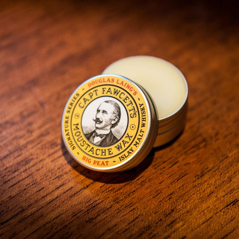 Captain Fawcett's BIG PEAT Islay Malt Whisky Moustache Wax