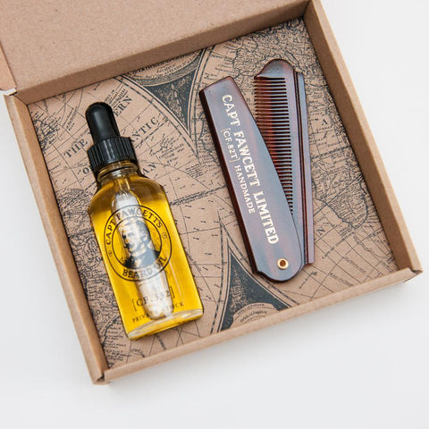 Captain Fawcett's Beard Oil Private Stock 50ml & Folding Pocket Beard Comb - FineShave