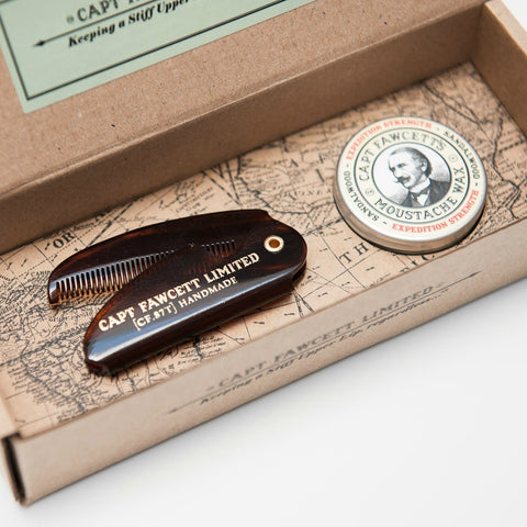 Captain Fawcett's Sandalwood Firm Hold Wax & Comb - FineShave
