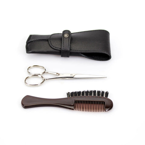 Dovo Beard & Moustache Grooming Set (Scissor & Brush/Comb in black leather pouch)
