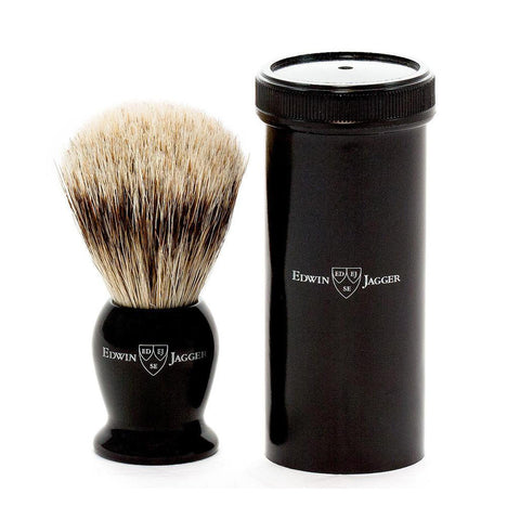 Edwin Jagger Best Badger Travel Shaving Brush & Tube (Black) - FineShave