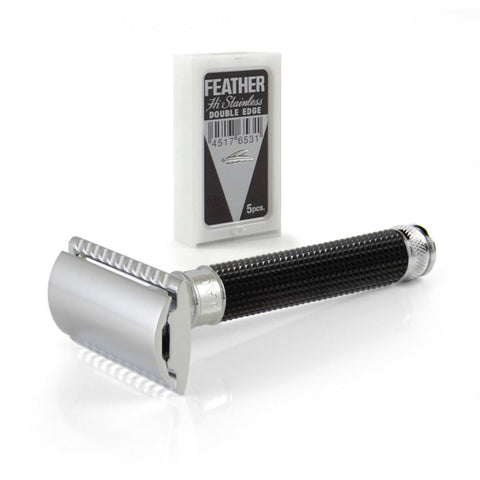 Edwin Jagger Black Chrome 3D Diamond DE Safety Razor - FineShave