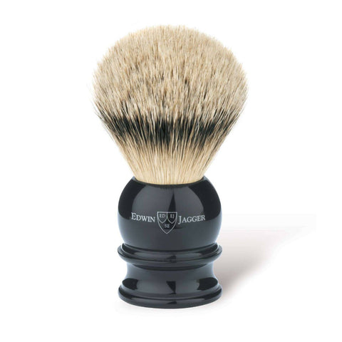 Edwin Jagger Silvertip Badger Shaving Brush Black (Large) - FineShave