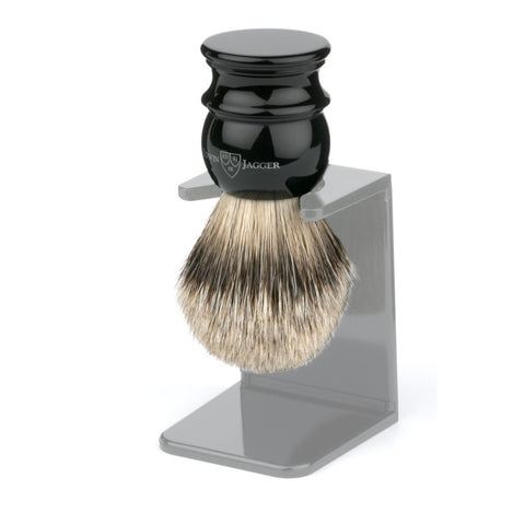 Edwin Jagger Silvertip Badger Shaving Brush Black (Medium) - FineShave