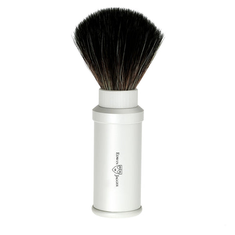Edwin Jagger Travel Shaving Brush Fibre (Matt Aluminium) - FineShave