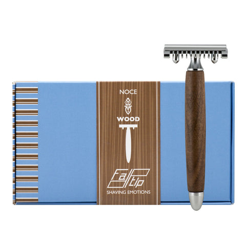 Fatip Walnut Wood Open Comb Safety Razor - FineShave