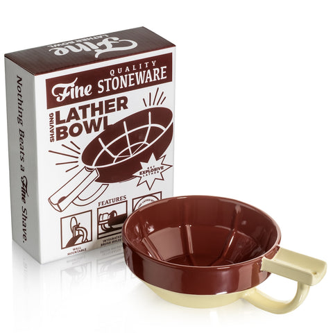 Fine Stoneware Shaving Lather Bowl with Brush Holder - FineShave
