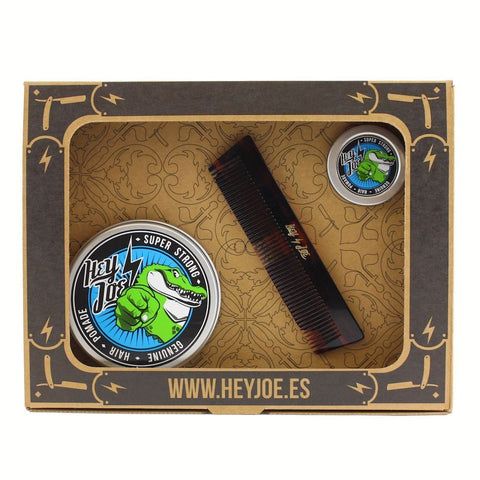 Hey Joe Pomade Survival Kit (Super Strong & Comb) - FineShave