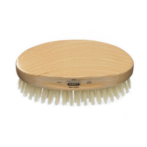 Kent Handmade Men's Military Brush Pure White Bristle - Oval Beech MG3 - FineShave