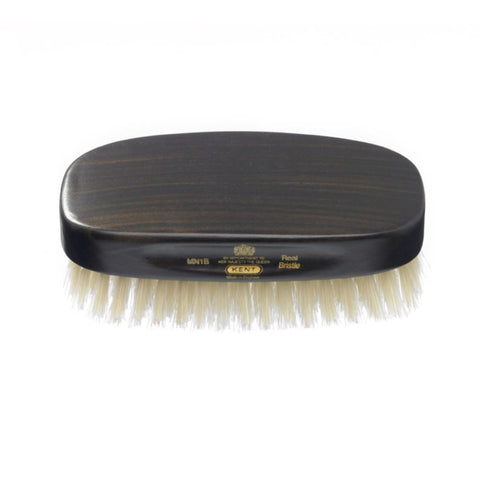 Kent Handmade Men's Military Brush Pure White Bristle - Oval Ebony MN1B - FineShave