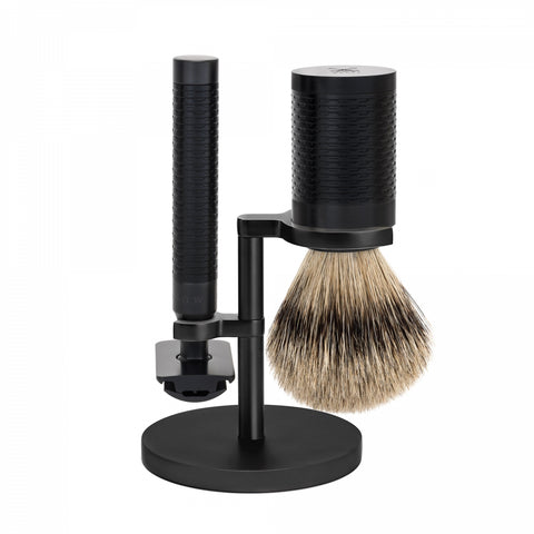 Mühle ROCCA Jet Black Shaving set (3-piece Stainless Steel with Silvertip Badger)