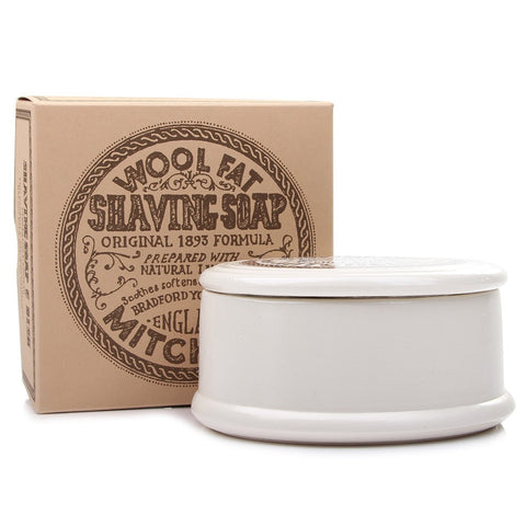 Mitchell's Wool Fat Shaving Soap & Ceramic Dish - FineShave