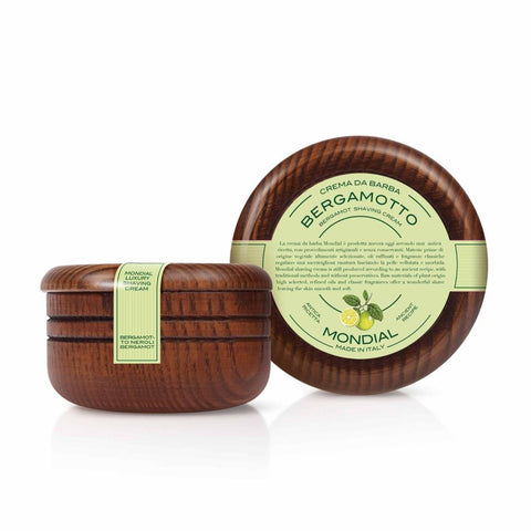 Mondial Bergamot Luxury Shave Cream (Wooden Bowl 140ml) - FineShave