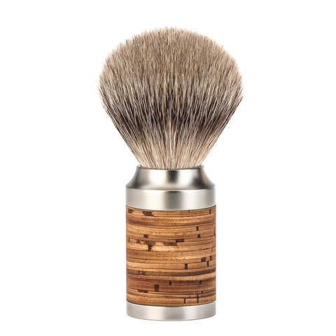 Mühle ROCCA Silvertip Badger Shaving Brush (Stainless Steel / Birch Bark) - FineShave