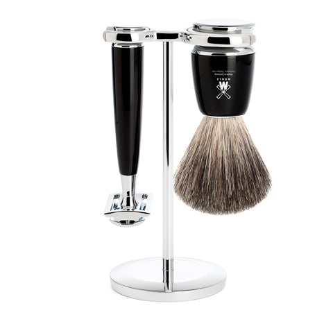 Mühle RYTMO 3 part Shaving set with Badger Brush (Black) - FineShave
