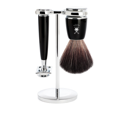 Mühle RYTMO 3 part Shaving set with Fibre Brush (Black) - FineShave
