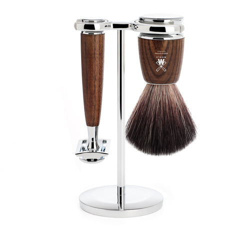 Mühle RYTMO 3 part Shaving set with Fibre Brush (Steamed Ash) - FineShave