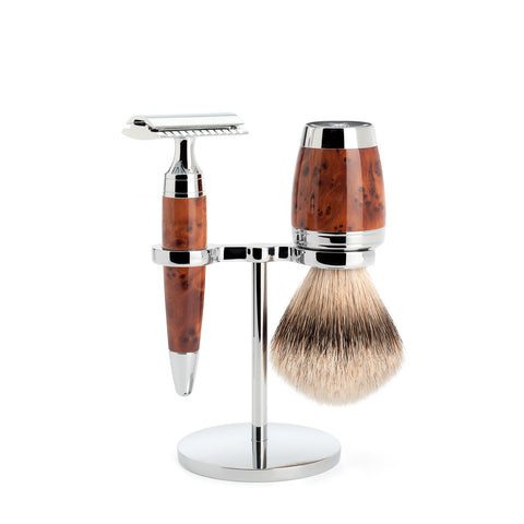 Mühle STYLO Thuja Wood Shaving Set with Safety Razor & Silvertip Badger Brush - FineShave