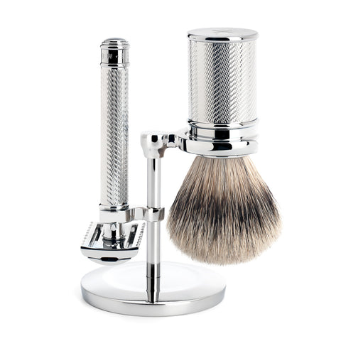 Mühle Traditional 3 part Shaving set (Open Comb with Silvertip Badger) - FineShave