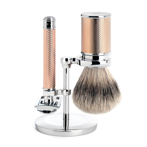 Mühle Traditional 3 part Shaving set (Rosegold with Silvertip Badger) - FineShave