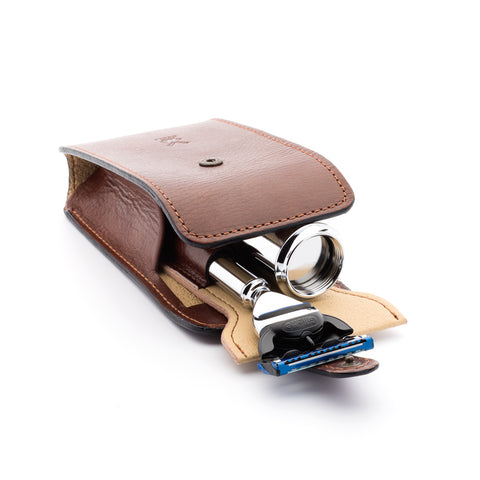 Mühle travle Leather Pouch for Safety Razor & Brush (brown) - FineShave
