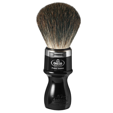 Omega Black Badger Shaving Brush with Chrome Metal Stand - FineShave