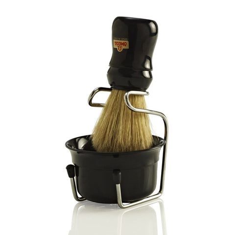 Omega Boar Shaving Brush & Brush Stand & Shaving Bowl (Black) - FineShave