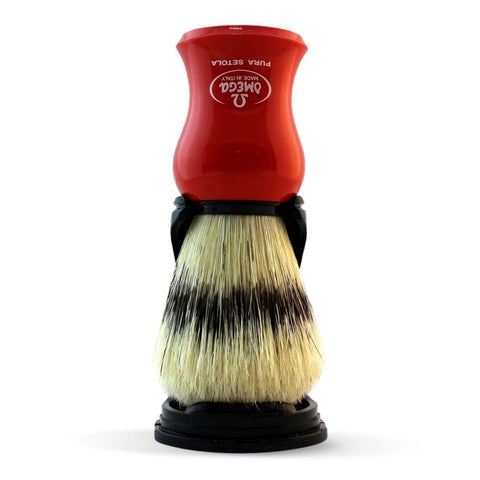 Omega Boar Shaving Brush with Stand (Red) 80265 - FineShave