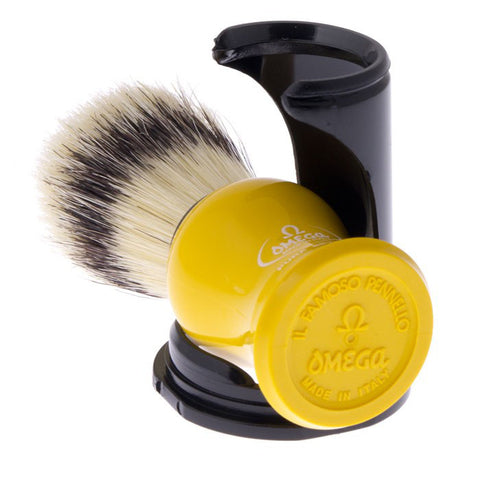 Omega Boar Shaving Brush with Stand (Yellow) 80265 - FineShave
