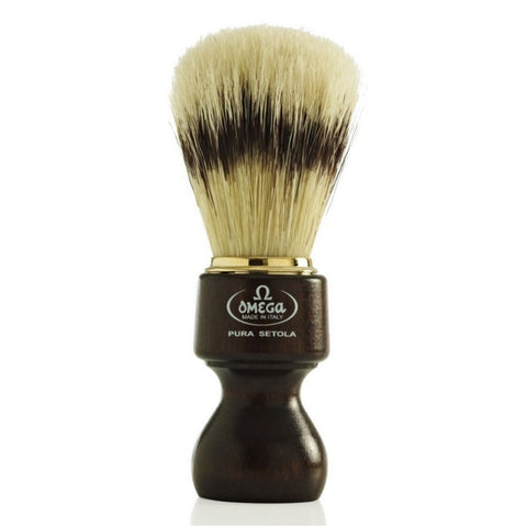 Omega Boar Shaving Brush with Wooden Handle - FineShave