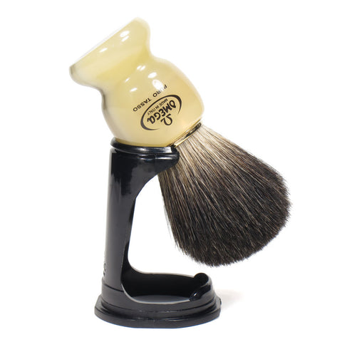 Omega Pure Badger Shaving Brush with Stand (Faux Horn) - FineShave
