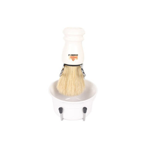 Omega Synthetic Fibre Shaving Brush & Brush Stand & Shaving Bowl (White) - FineShave