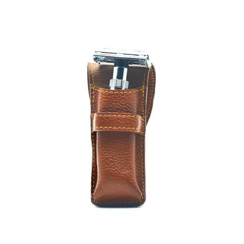 Parker Saddle Leather Safety Razor Case (small) - FineShave