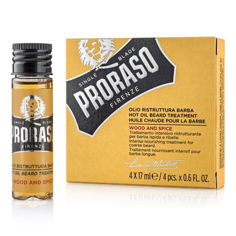 Proraso Beard Hot Oil Treatment Wood and Spice (4 pcs x 17 ml) - FineShave