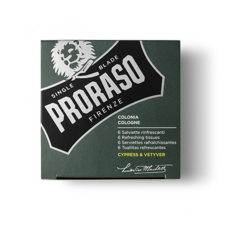 Proraso Refreshing Tissues Cypress & Vetyver (Pack of 6) - FineShave