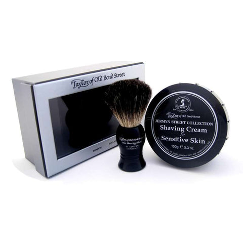 Taylor of Old Bond Street Pure Badger Brush & Jermyn St Shaving Cream Gift Box - FineShave