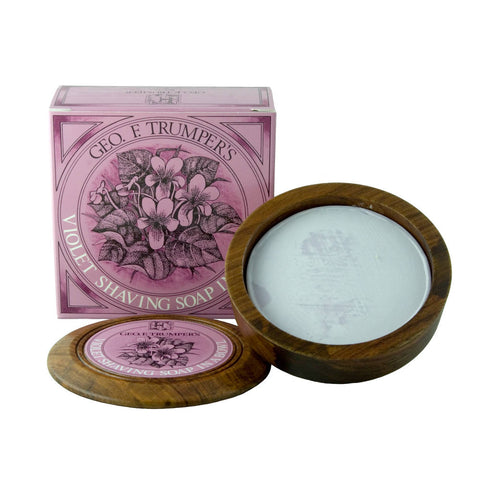 Geo. F. Trumper Violet Hard Shaving Soap 80g Wooden Bowl - FineShave