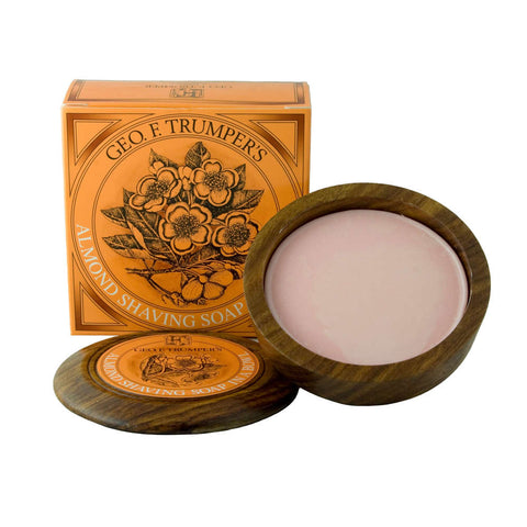 Geo. F. Trumper Almond Hard Shaving Soap 80g Wooden Bowl - FineShave