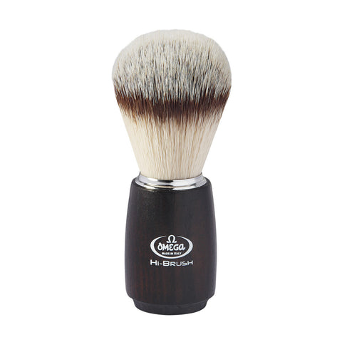 Omega HI-Brush Dark Wood Handle Synthetic Shaving Brush