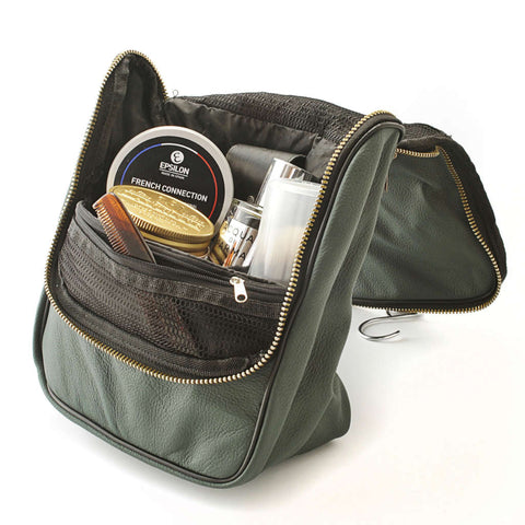 Leather Men's Wash Bag (Military Green) - FineShave