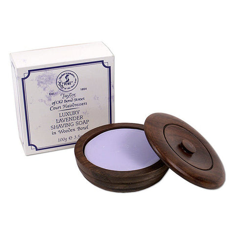 Taylor of Old Bond Street Lavender Soap Wooden Bowl 100g