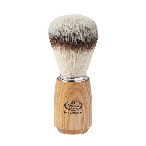 Omega HI-Brush Ash Wood Handle Synthetic Shaving Brush