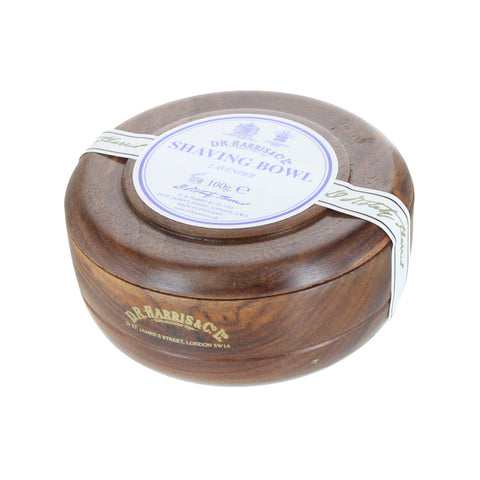 D R Harris Lavender Shaving Soap Bowl (Mahogany) - FineShave