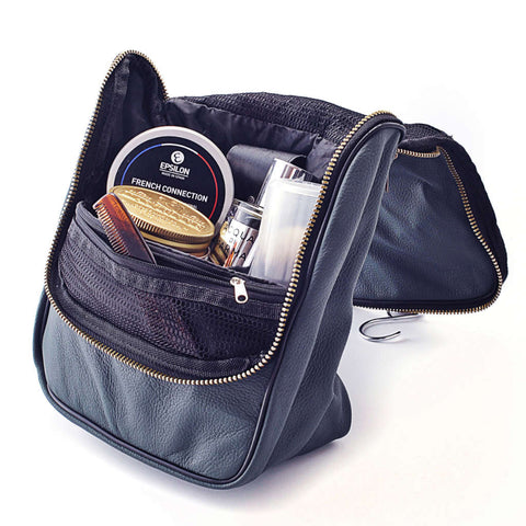 Leather Men's Wash Bag (Navy Blue) - FineShave