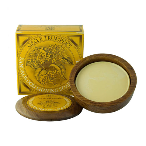 Geo. F. Trumper Sandalwood Hard Shaving Soap 80g Wooden Bowl - FineShave