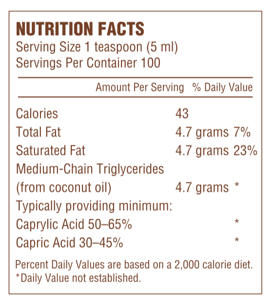 MCT Oil 500ml Nutrition Facts