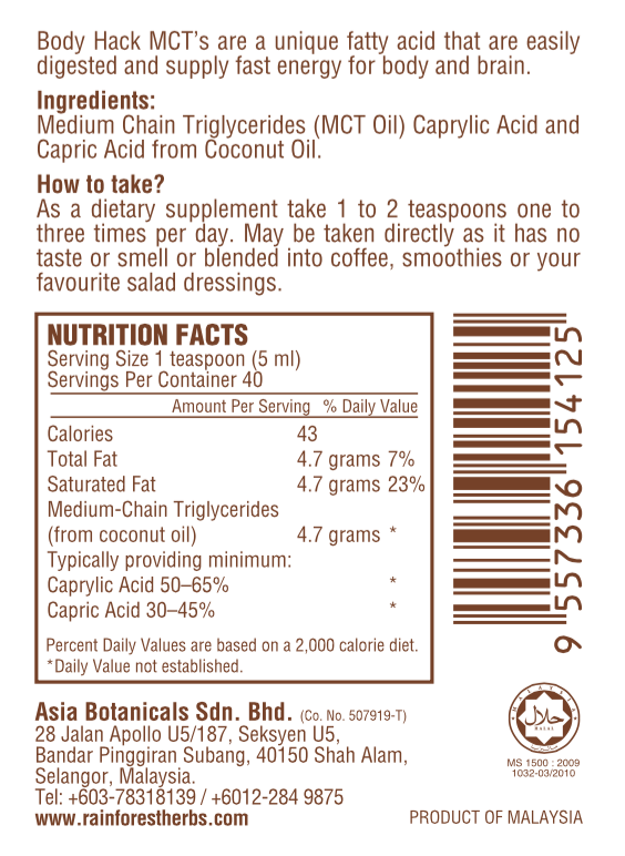Coconut Source MCT Oil Nutrition Facts
